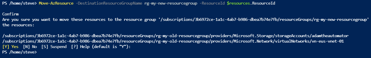 Moving resources into a new resource group using PowerShell
