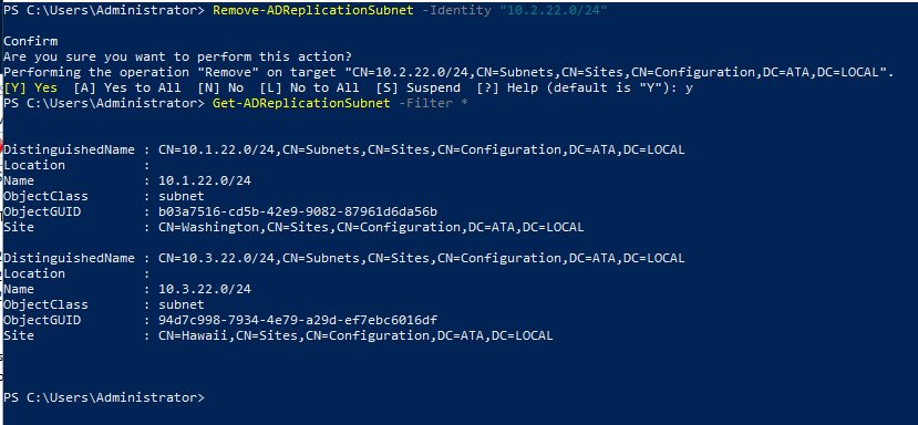 Removing the Active Directory Subnet associated with the Maryland site.