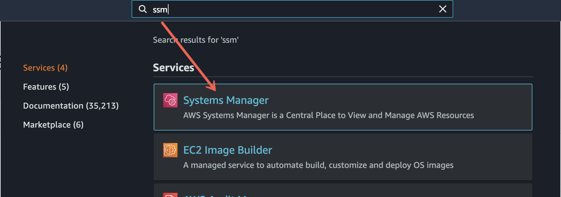 Navigating to the Systems Manager service in the Management Console