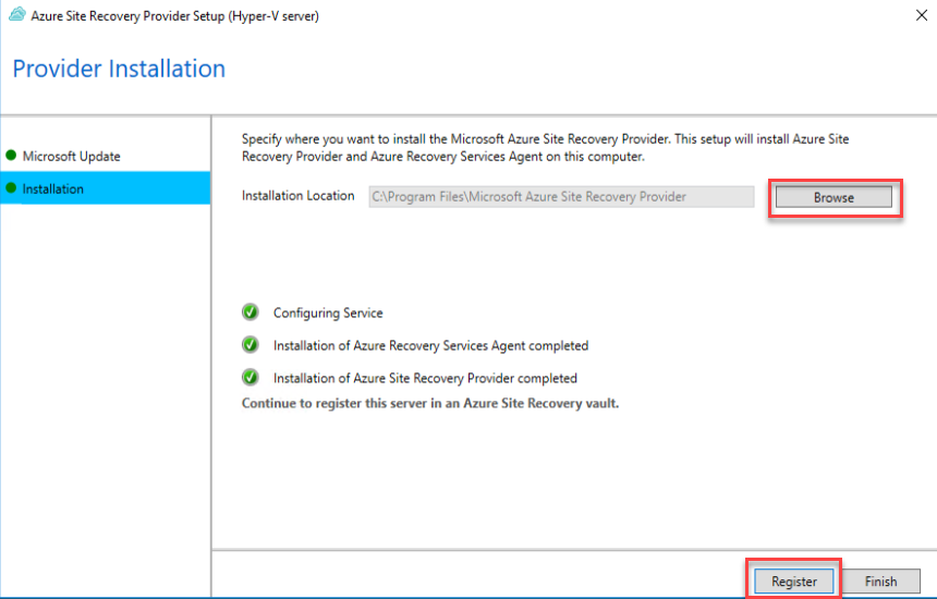 Azure Site recovery Install process
