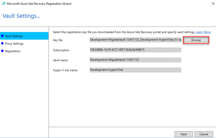 Site recovery Install - Browse for registration key