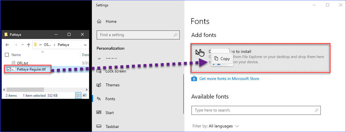 Installing a font on Windows 10 using the Windows Settings