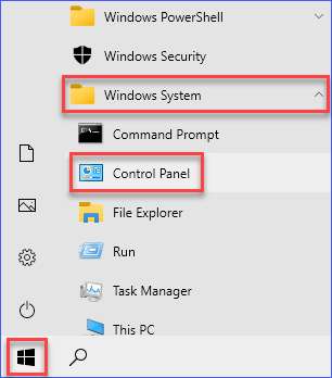 Opening the Control Panel window
