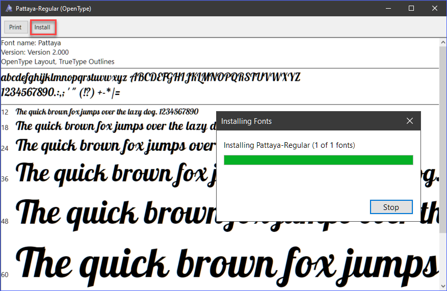 Installing a font using the Font Viewer