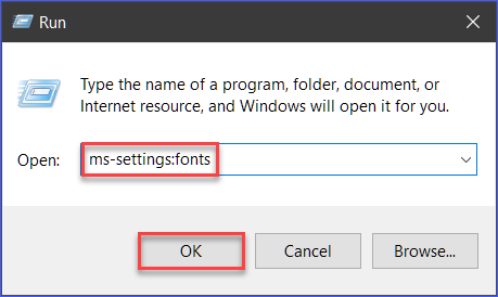 Opening the Fonts Windows Settings