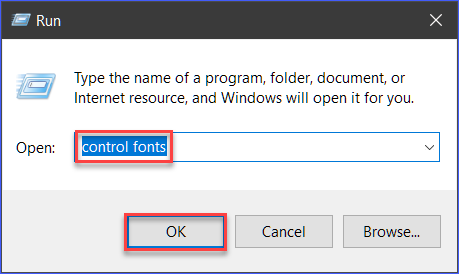 Opening the Fonts Control Panel window