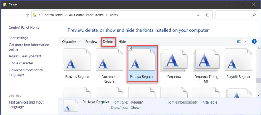 Uninstalling a font