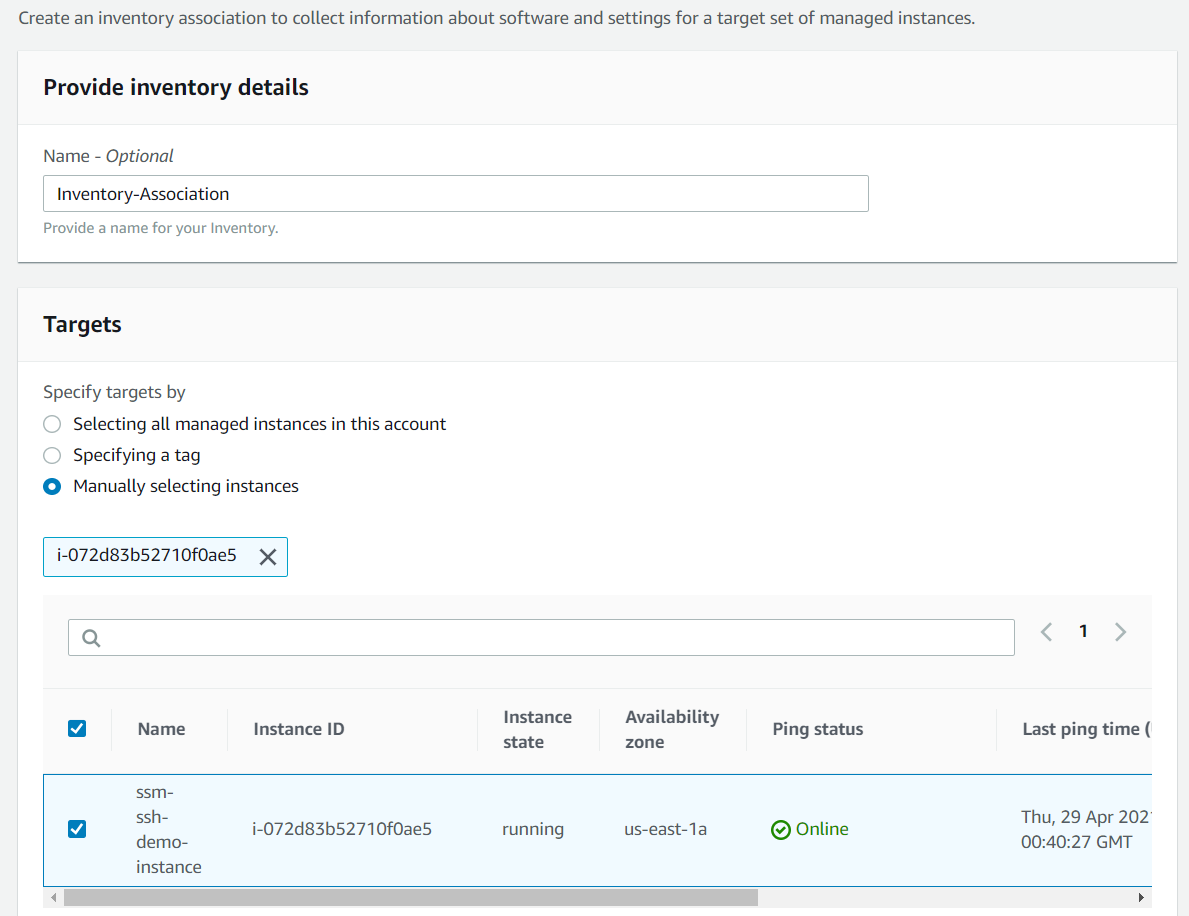 Adding the demo instance to the SSM inventory