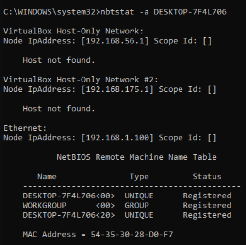 Displaying the NetBIOS name table using the -a switch
