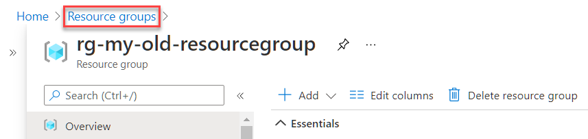 Clicking the Resource groups breadcrumb link