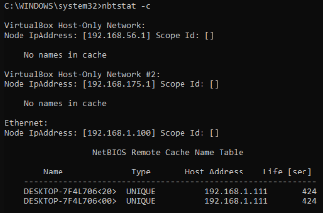Displaying the NetBIOS remote name cache