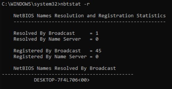 Displaying the NetBIOS name resolution statistics