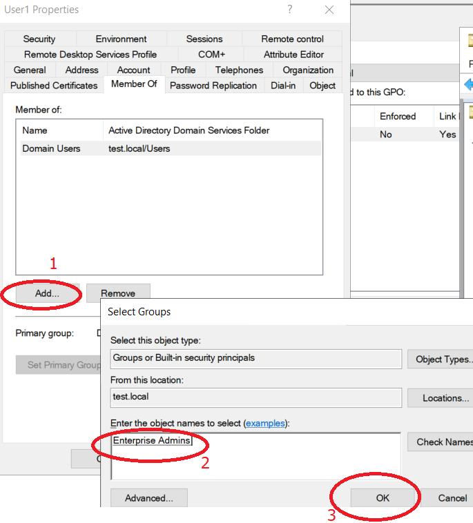 Adding User1 to Enterprise Admins Group.