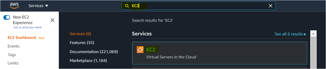 Searching the EC2 service