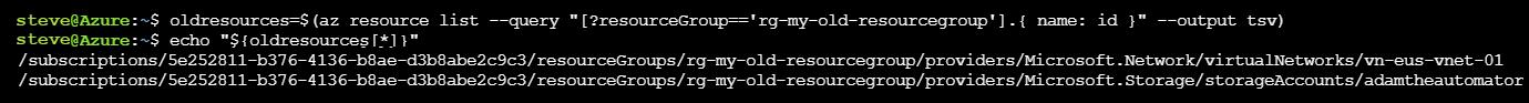 az resource list command