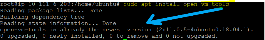 Installing the open-VM-tools package for the ubuntu server