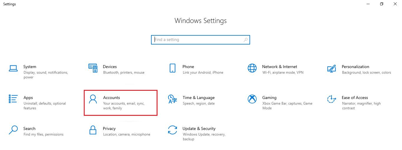Accounts option in Settings app