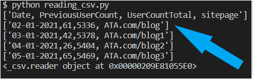Output when reading only 5 rows from a CSV file
