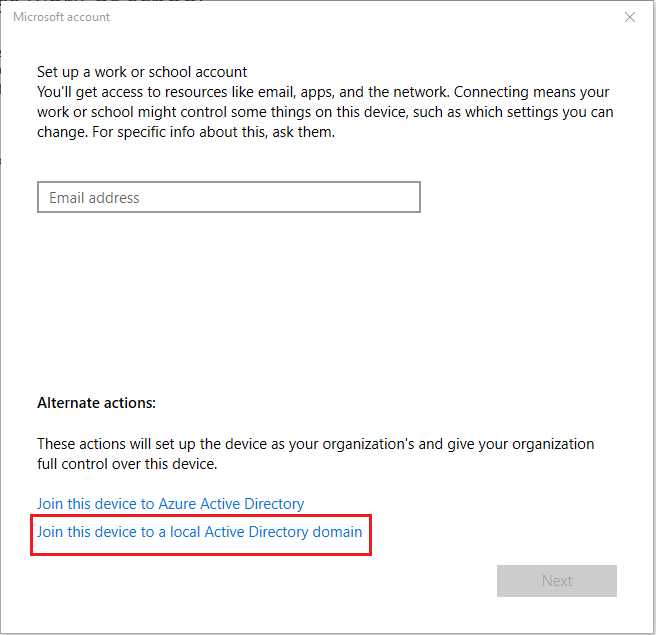 Join this device to local Active Directory Domain option