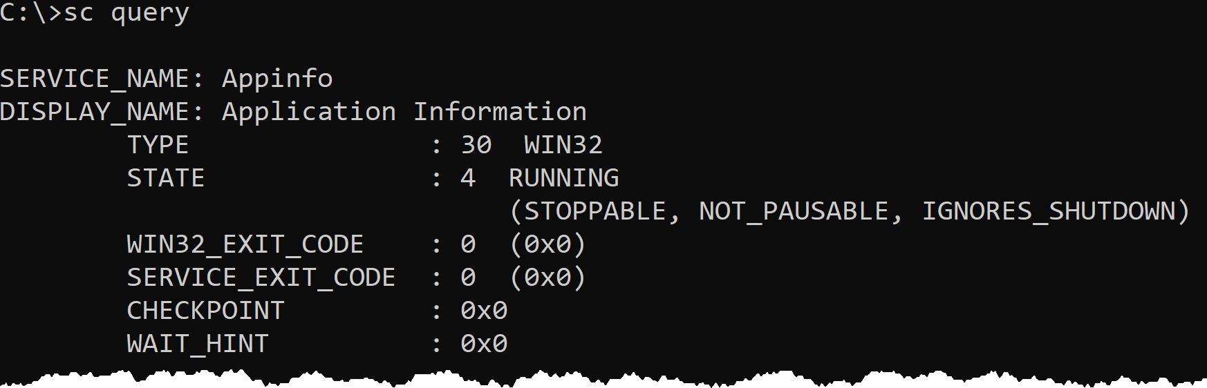 Run the sc query command