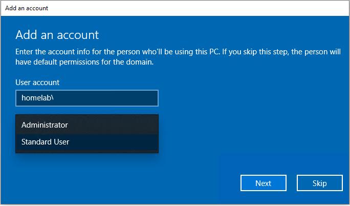 Account type prompt