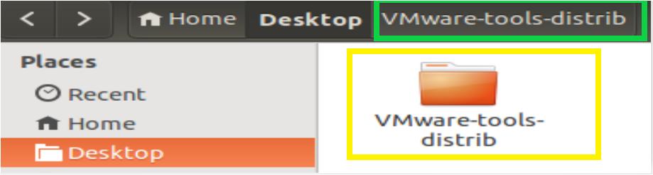 VMWare-tools-distrib folder extracted on the desktop