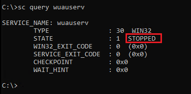 Querying wuauserv service