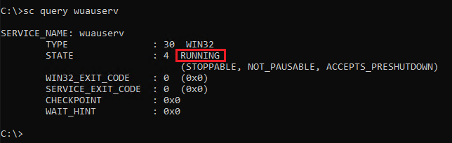 Querying wuauserv service status