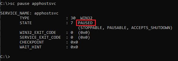 Pausing service using SC pause