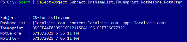 Viewing the self-signed certificate clone properties