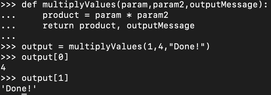 return multiple values in a function