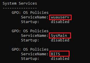 Services disabled on the computer