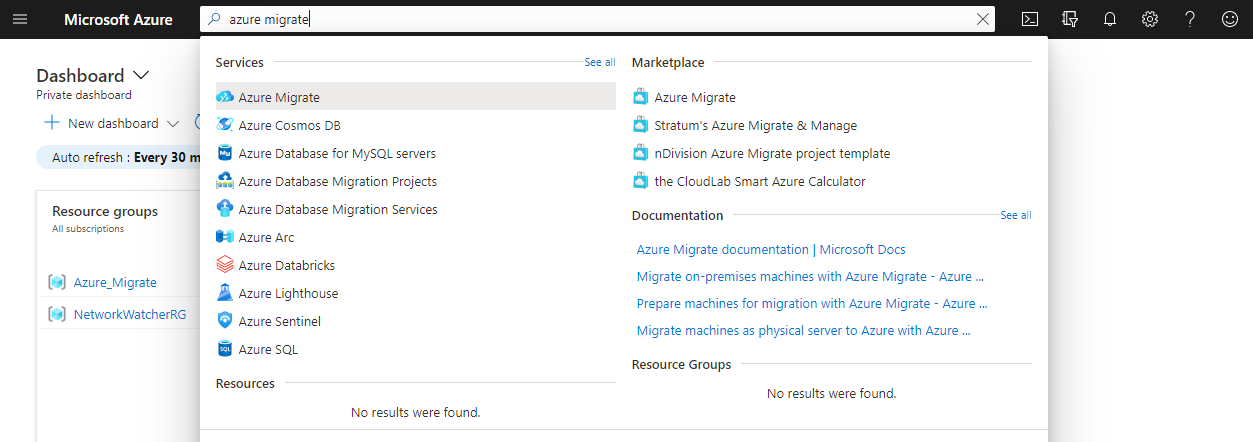 Searching for the Azure Migrate hub