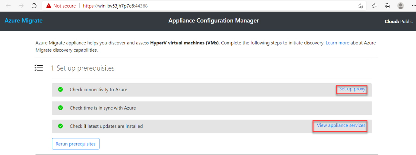 Azure Migrate Appliance configuration manager