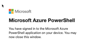 Authenticated with Azure successfully