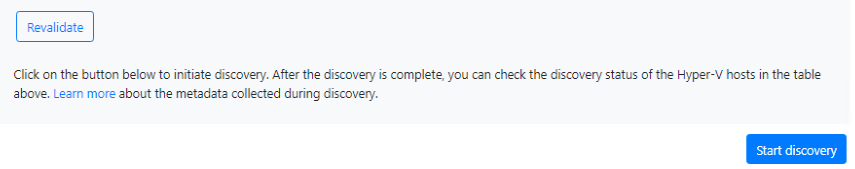 Clicking on the Start Discovery