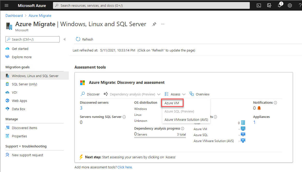 Select VM to assess