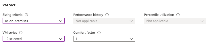 Sizing Criteria, Performance History, Percentile Utilization, VM Series and Comfort factor