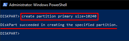 Creating Partition Out of Unallocated Space