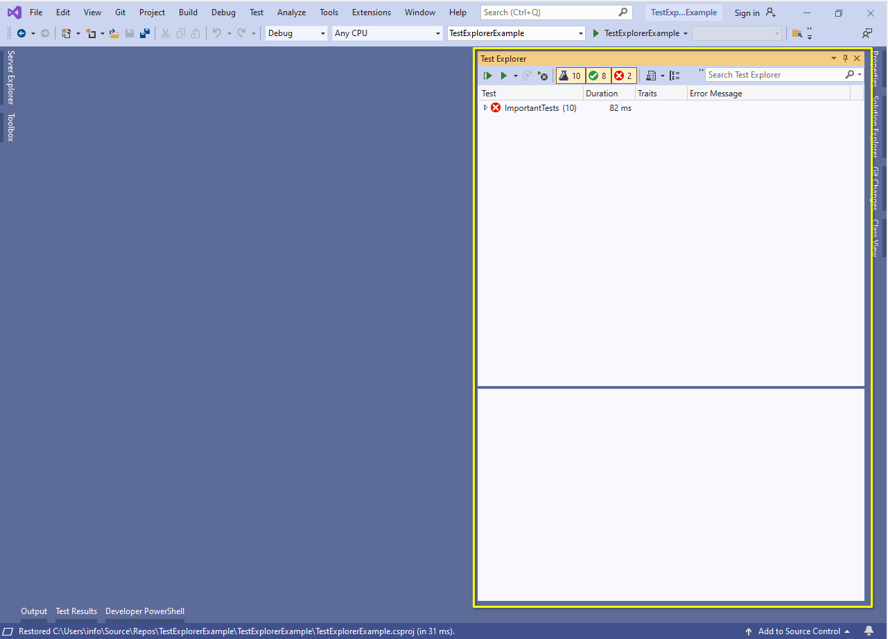 Visual Studio Test Explorer docked to the right side of the Window