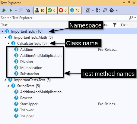 The Visual Studio Test Explorer tests list