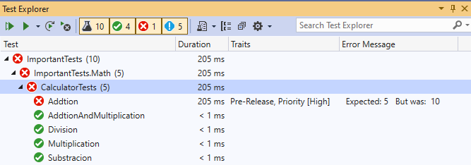 Test Explorer with values in the default column configuration