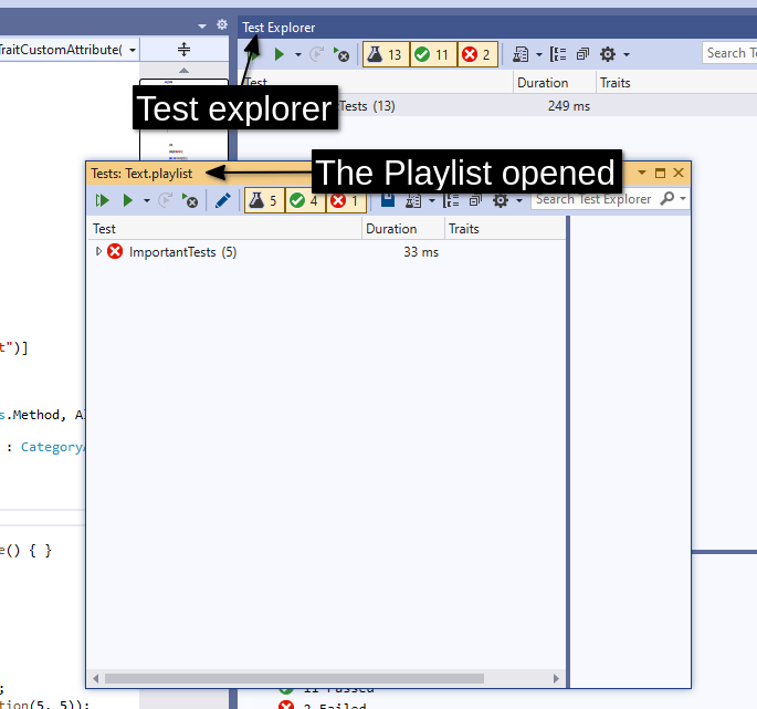 The Playlist opened in Visual Studio