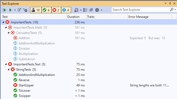 Test cases with different states in the Test Explorer