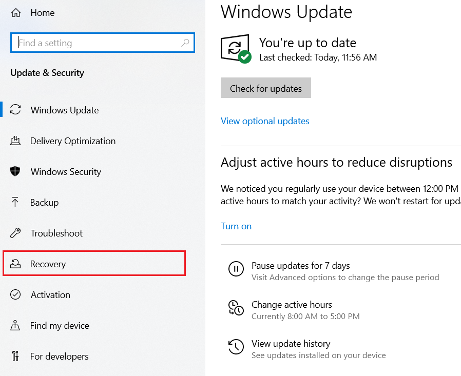 Control Panel - Windows Update & Security window