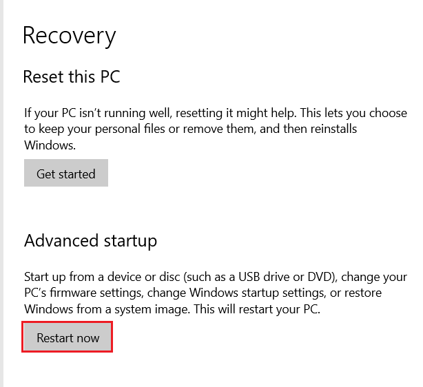 Control Panel - Recovery window