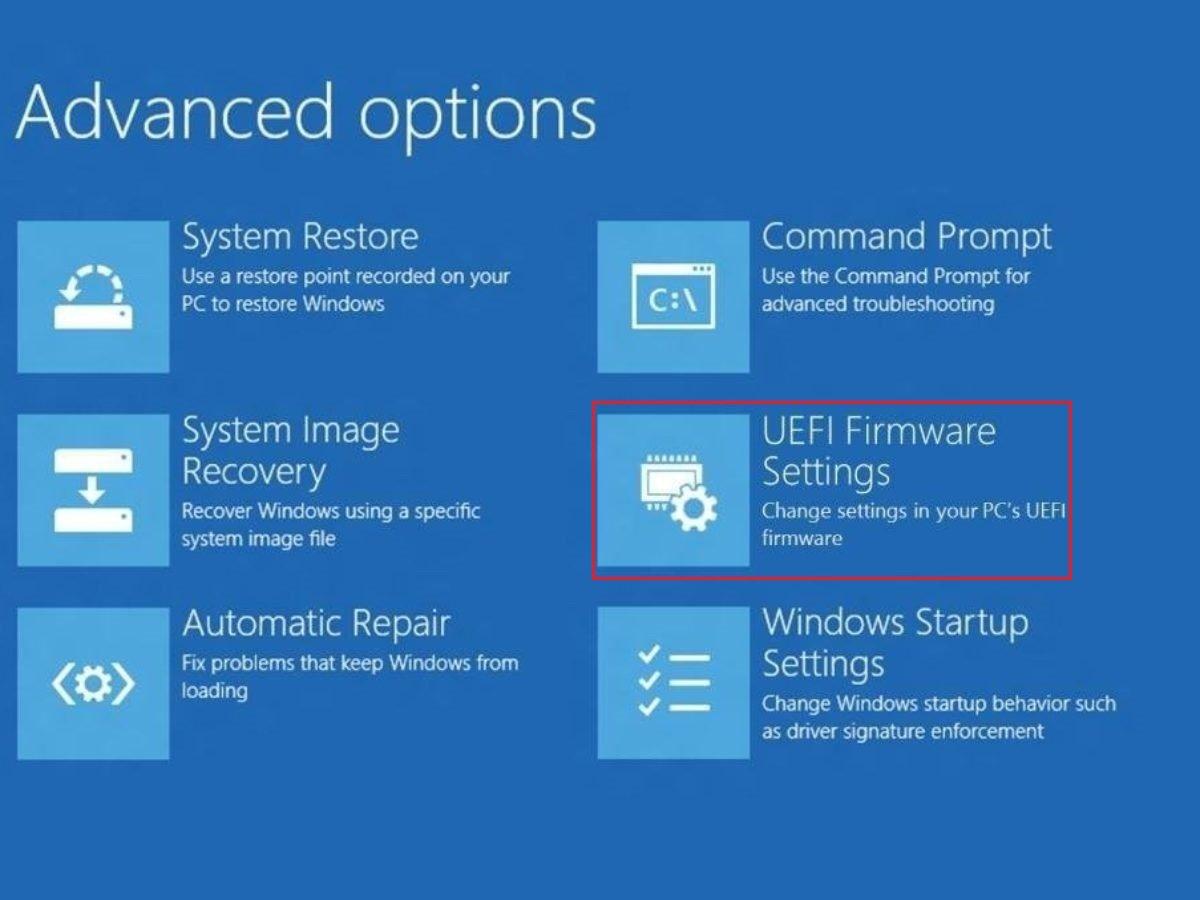Menu - UEFI Firmware Settings