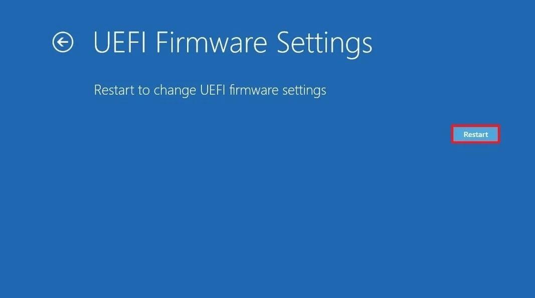 Menu - UEFI Firmware Settings window