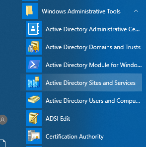 Opening Active Directory Sites and Services.