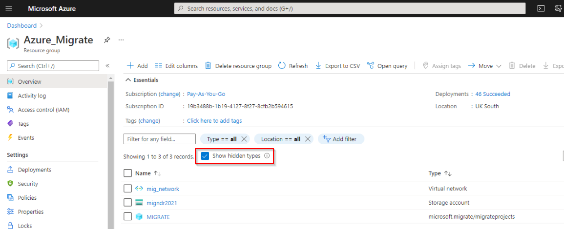 The resource group Azure_Migrate displaying the 'Hidden' objects, in this case a migrate project
